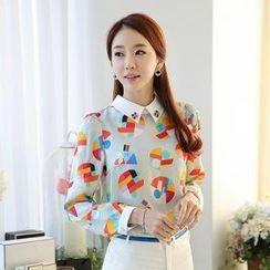 AiSun - Embellished-Collar Printed Chiffon Top