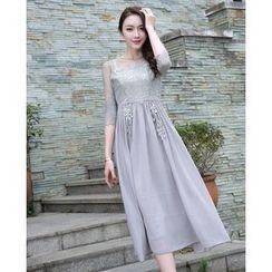 Effie - 3/4-Sleeve Paneled Rhinestone Dress