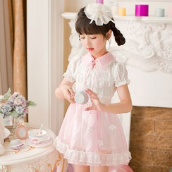Candy Rain - Kids Short-Sleeve Lace Chiffon Dress