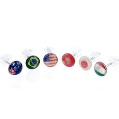 Fit-to-Kill - 6 pieces national flags earrings