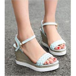 Freesia - Woven Wedge Sandals