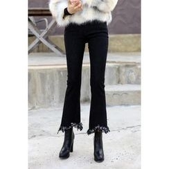 migunstyle - Frey-Hem Boot-Cut Pants