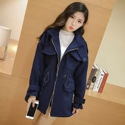 Karnel - Drawstring Waist Zip Coat