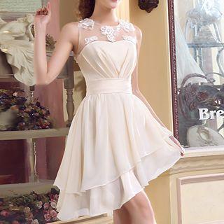 MSSBridal - Illusion Neckline Asymmetric Hem Cocktail Dress