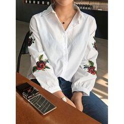 STYLEBYYAM - Rosette-Embroidered Cotton Shirt