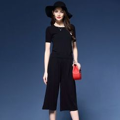 Elabo - Set: Short-Sleeve Knit Top + Cropped Wide Leg Pants