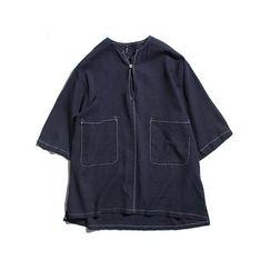 Chuoku - Contrast Stitching Elbow-Sleeve T-Shirt