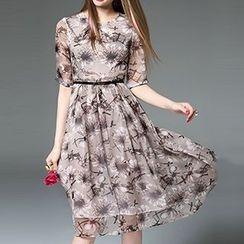 Queen Mulock - Elbow-Sleeve Printed Dress