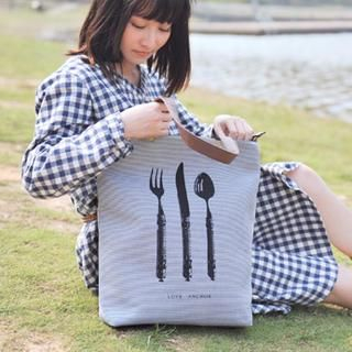 SUPER LOVER - Tableware Print Striped Tote