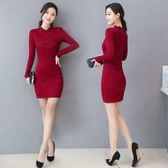Ekim - Long-Sleeve Lace Panel Sheath Dress