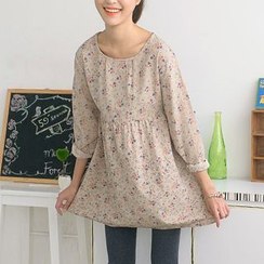 59 Seconds - Flower Pattern Long Sleeve Dress