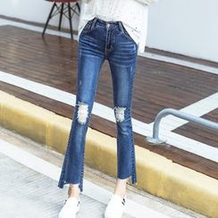 Denimot - Distressed Boot Cut Jeans