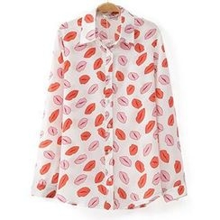 Neeya - Long-Sleeve Lip Print Chiffon Blouse