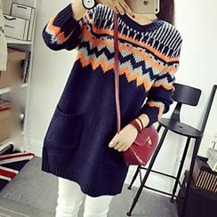 Polaris - Zigzag Patterned Long Sweater