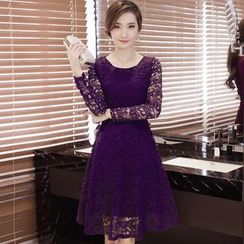 ESODO - Long-Sleeve Lace Panel A-line Dress