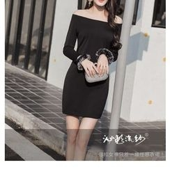 Silkfold - Long-Sleeve Off Shoulder Sheath Dress