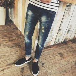 Telvi - Distressed Straight-Cut Jeans