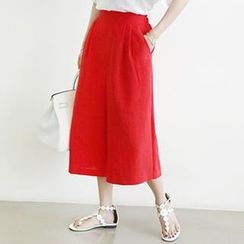 NANING9 - Pleated Wide-Leg Cropped Pants