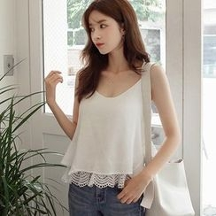 mimi&didi - Spaghetti-Strap Lace Layered-Hem Top