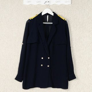 59 Seconds - Contrast Collar Single-Button Long Blazer