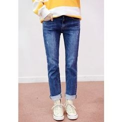 DEEPNY - Washed Straight-Cut Jeans