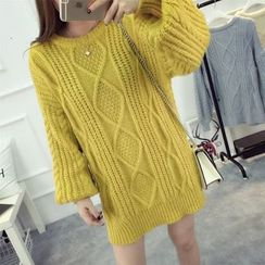 YAMI - Cable-Knit Chunky Long Sweater