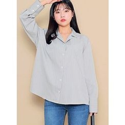 HOTPING - Open-Placket Striped Blouse
