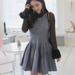 Seoul Fashion - Sleeveless Patterned Knit A-Line Dress