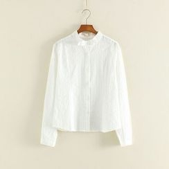 Mushi - Bow Detail Band Collar Shirt