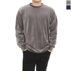 Seoul Homme - Round-Neck Velvet T-Shirt