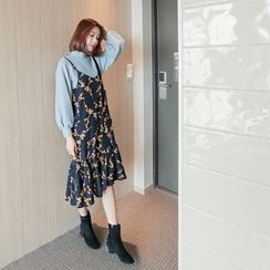 WITH IPUN - Spaghetti-Strap Frill-Hem Flower Pattern Dress