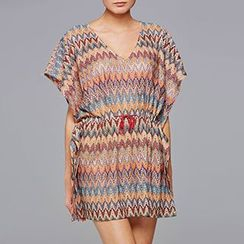 Sunset Hours - Patterned V-Neck Cover-Up