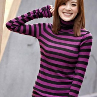 Tokyo Fashion - Turtleneck Striped Knit Top