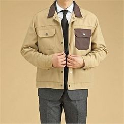 THE COVER - Contrast-Trim Button Jacket