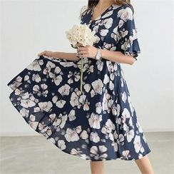 PIPPIN - Elbow-Sleeve Wrap-Front Floral A-Line Dress