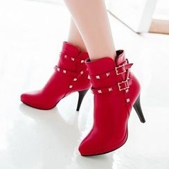 Tomma - Studded Pointy Heel Short Boots