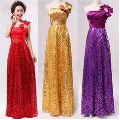 Bridal Workshop - One-Shoulder Sequined A-Line Evening Gown