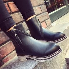QQ Trend - Low Heel Faux Leather Ankle Boots