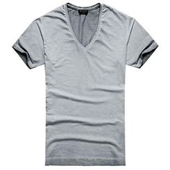 Mannmix - V-neck Plain Short-Sleeve T-shirt