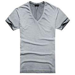 Mannmix - V-neck Plain Short-Sleeve T-shirt