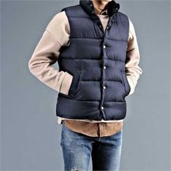 THE COVER - Stand-Collar Snap-Button Padded Vest