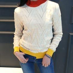 DANI LOVE - Contrast-Trim Pointelle-Knit Sweater