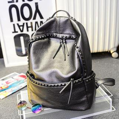 Clair Fashion - Faux Leather Studded Backpack