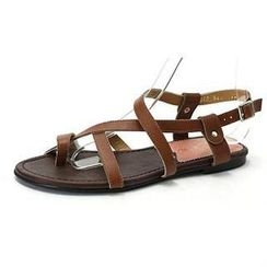 MODELSIS - Genuine Sheepskin Cross-Strap Thong Sandals