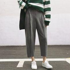 TriStyle - Cropped Plain Knit Pants
