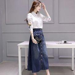 Alisha - Set: Embroidered Long-Sleeve Shirt + Buttoned Denim Skirt
