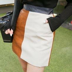DABAGIRL - Color-Block Faux-Leather Mini Skirt