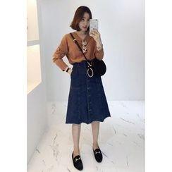Miamasvin - Buttoned A-Line Denim Midi Skirt
