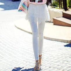 Dabuwawa - Inset Lace Skirt Leggings