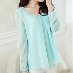Flobo - Long-Sleeve Chiffon Blouse
